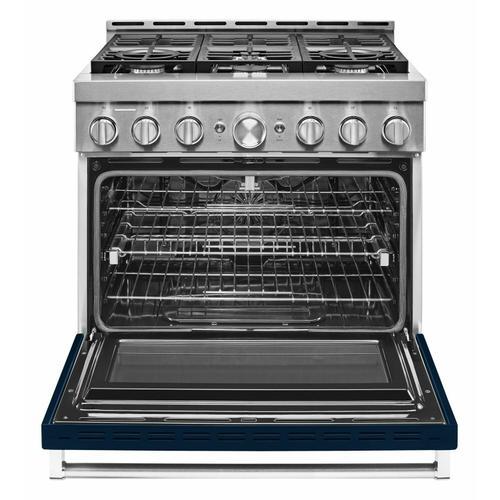 KitchenAid - KitchenAid® 36'' Smart Commercial-Style Gas Range with 6 Burners - Ink Blue