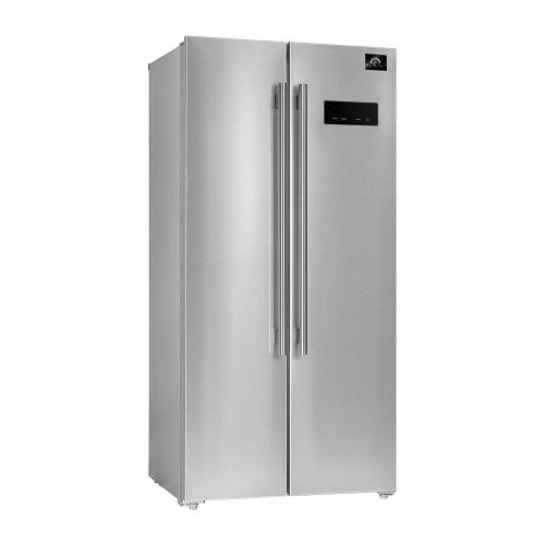"Salerno -33"" Side by side built-in refrigerator 15.6cuft SS Color, white inside with handle"