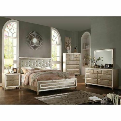 ACME Voeville Eastern King Bed - 20997EK - Matte Gold PU & Antique Silver
