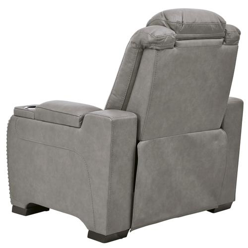 Signature Design By Ashley - Power Leather Recliner with Adjustable Headrest, Lumbar, Reading Lights and Wireless Cell Phone Charging