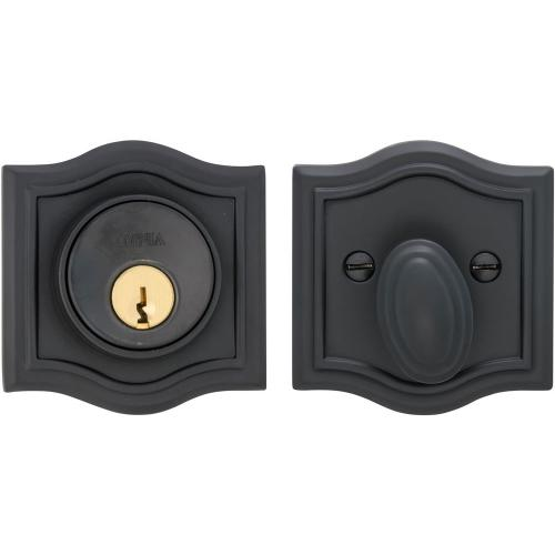 Arched Auxiliary Deadbolt Kit in (US10B Black, Oil-Rubbed, Lacquered)