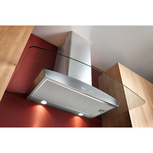 Broan® 36-Inch Curved Glass Canopy Wall-Mount Range Hood w/ Heat Sentry , 500 CFM, Stainless Steel