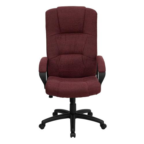 High Back Burgundy Fabric Executive Swivel Chair with Arms