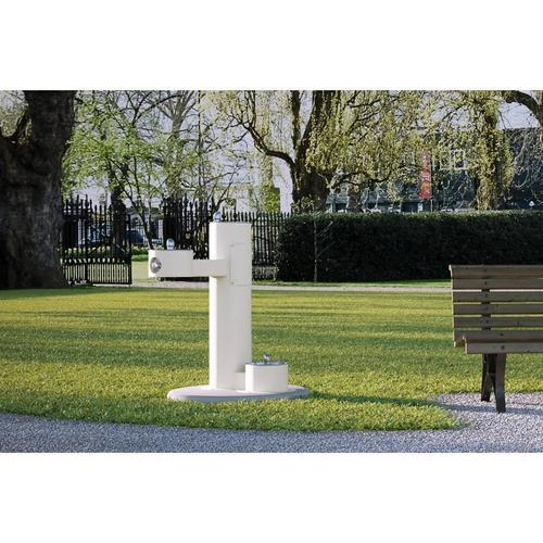 Elkay - Elkay Outdoor Fountain Bi-Level Pedestal with Pet Station, Non-Filtered Non-Refrigerated White