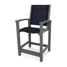 View Product - Coastal Counter Chair in Slate Grey / Navy Blue Sling