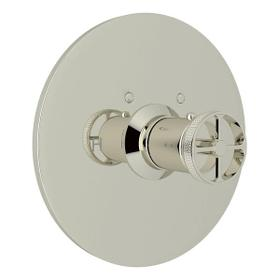 Campo Thermostatic Trim Plate without Volume Control - Polished Nickel with Industrial Metal Wheel Handle