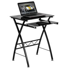 See Details - Black Tempered Glass Computer Desk with Pull-Out Keyboard Tray