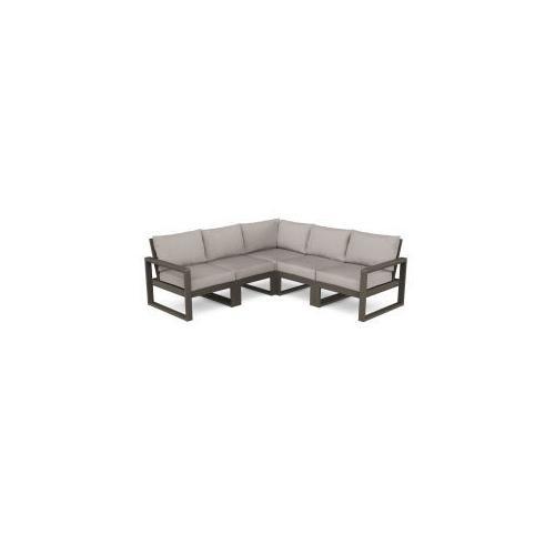 Polywood Furnishings - EDGE 5-Piece Modular Deep Seating Set in Vintage Coffee / Weathered Tweed