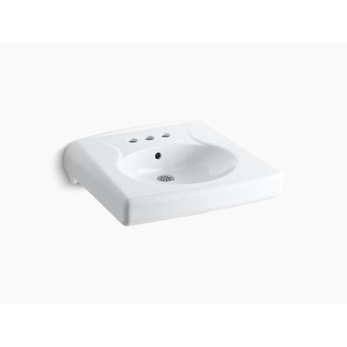 "White Wall-mounted or Concealed Carrier Arm Mounted Commercial Bathroom Sink With 4"" Centerset Faucet Holes"