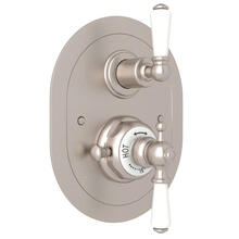 Edwardian Era Oval Thermostatic Trim Plate with Volume Control - Satin Nickel with Metal Lever Handle