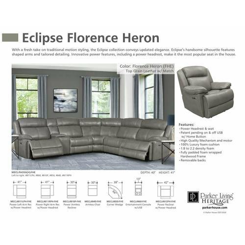 Parker House - ECLIPSE - FLORENCE HERON Power Left Arm Facing Recliner