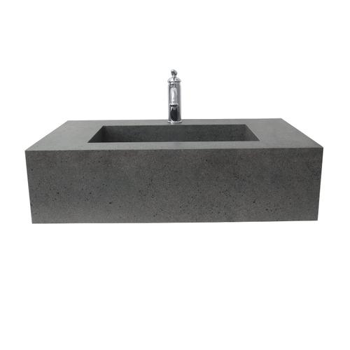 """Precious 33"""" Wall-Hung Sink with Invisible Drain - Single-Hole / Behind Gray"""