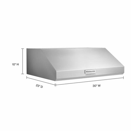 """KitchenAid - 30"""" 585 CFM Motor Class Commercial-Style Under-Cabinet Range Hood System - Stainless Steel"""