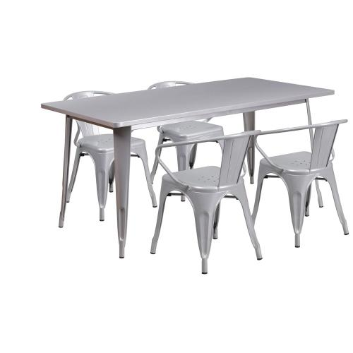31.5'' x 63'' Rectangular Silver Metal Indoor-Outdoor Table Set with 4 Arm Chairs