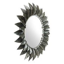 See Details - Leaf Round Mirror Black