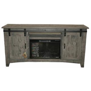 """See Details - 70"""" Charcoal Gray Barn Door Tv/fireplace"""
