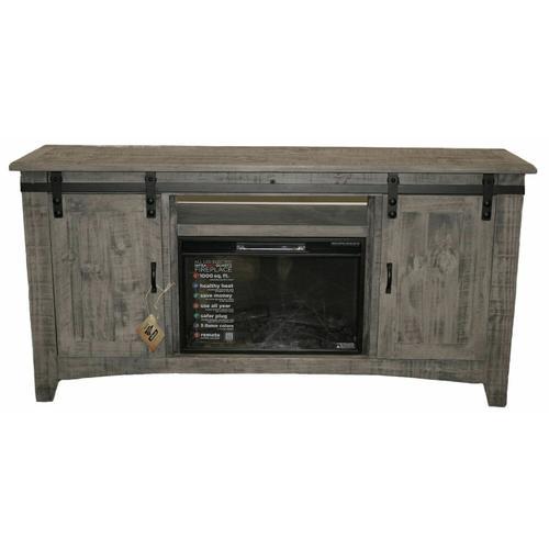 "Million Dollar Rustic - 70"" Charcoal Gray Barn Door Tv/fireplace"