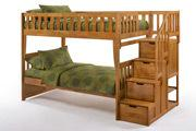 Peppermint Stair Bunk in Medium Oak Finish