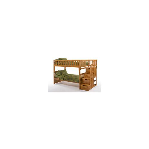 Night and Day Furniture - Peppermint Stair Bunk in Medium Oak Finish