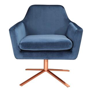 Pivot Swivel Arm Chair Blue Velvet