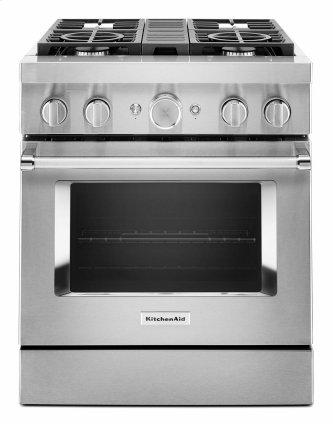 KitchenAid™ 30'' Smart Commercial-Style Dual Fuel Range with 4 Burners - Stainless Steel