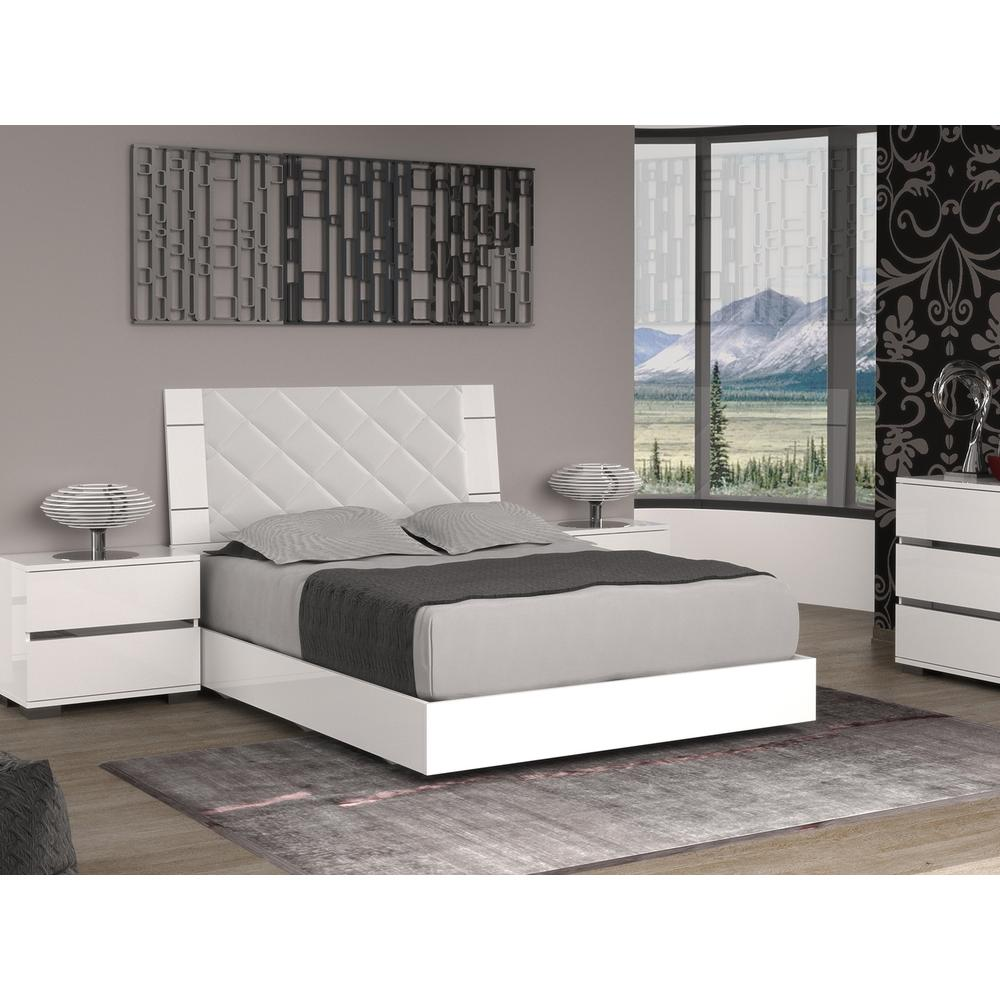 The Diamanti King Bed In High Gloss White Melamine With Fabric Diamond Pattern Headboard And Chrome Trim
