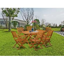 This 7 Pc Acacia Wood Outdoor-Furniture Dining Sets includes an Outdoor-Furniture table and 6 patio dining chairs