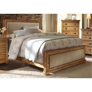 6/6 King Upholstered Bed - Distressed Pine Finish