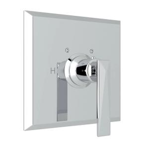 Vincent Thermostatic Trim Plate without Volume Control - Polished Chrome with Metal Lever Handle