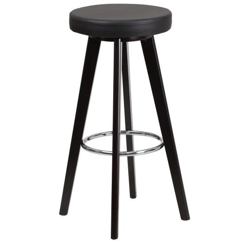 29'' High Contemporary Cappuccino Wood Barstool with Black Vinyl Seat