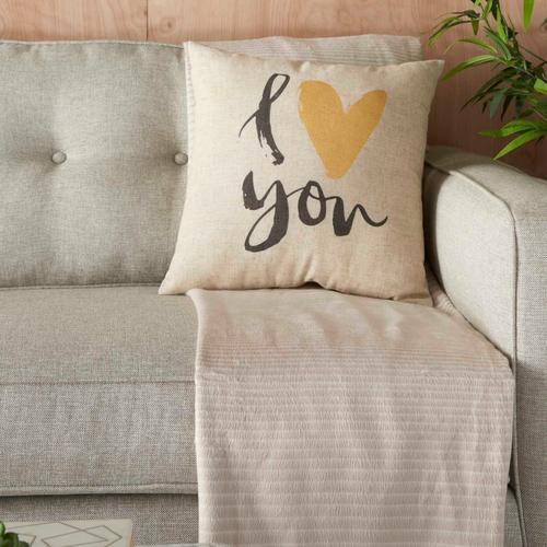 """Kathy Ireland Pillow L1814 Natural 18"""" X 18"""" Throw Pillow"""