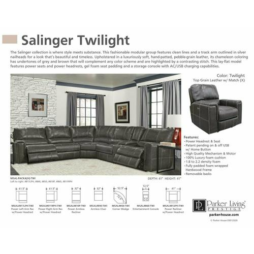 SALINGER - TWILIGHT Power Left Arm Facing Recliner