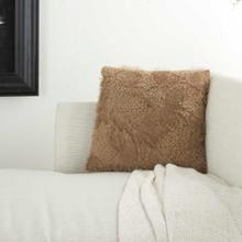 "Faux Fur L0296 Beige 18"" X 18"" Throw Pillow"