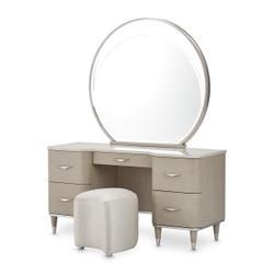 Vanity Desk Mirror & Stool 3 PC
