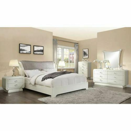 ACME Bellagio Queen Bed - 20390Q - PU & Ivory High Gloss