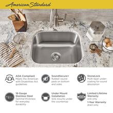 """See Details - Portsmouth 18x16"""" ADA Single Bowl Stainless Steel Kitchen Sink  American Standard - Stainless Steel"""