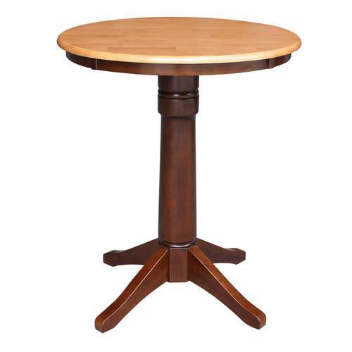"""30"""" Pedestal Table in Cinnamon / Espresso"""
