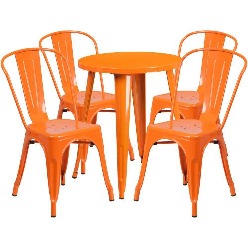 24'' Round Orange Metal Indoor-Outdoor Table Set with 4 Cafe Chairs