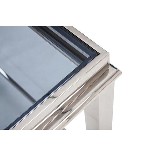 VIG Furniture - Modrest Agar Modern Glass & Stainless Steel Console Table