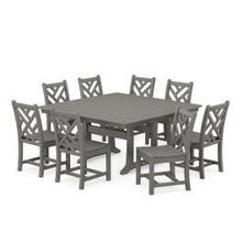View Product - Chippendale 9-Piece Farmhouse Trestle Dining Set in Slate Grey