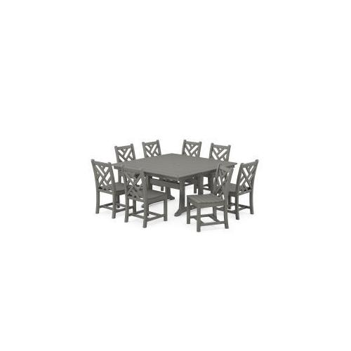 Polywood Furnishings - Chippendale 9-Piece Farmhouse Trestle Dining Set in Slate Grey