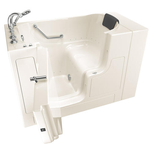 American Standard - Gelcoat Premium Series 30x52 Inch Walk-in Tub with Air Spa System and Outward Opening Door, Left Drain  American Standard - Linen