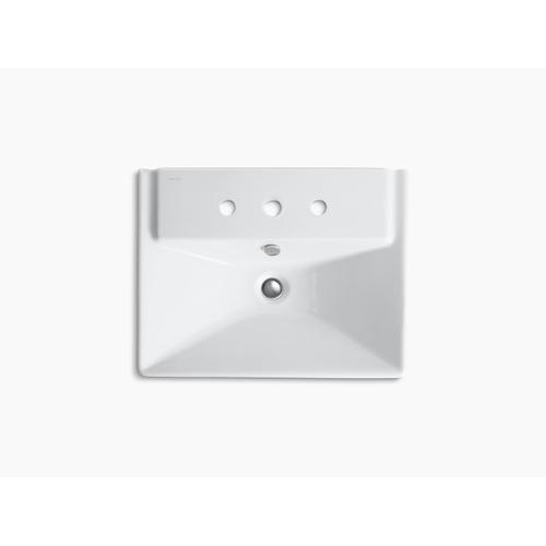 """Almond 23"""" Semi-pedestal Bathroom Sink With 8"""" Widespread Faucet Holes and Shroud"""