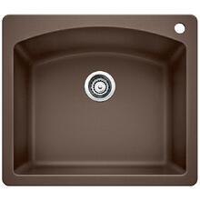 Diamond Single Bowl With Ledge - Café Brown