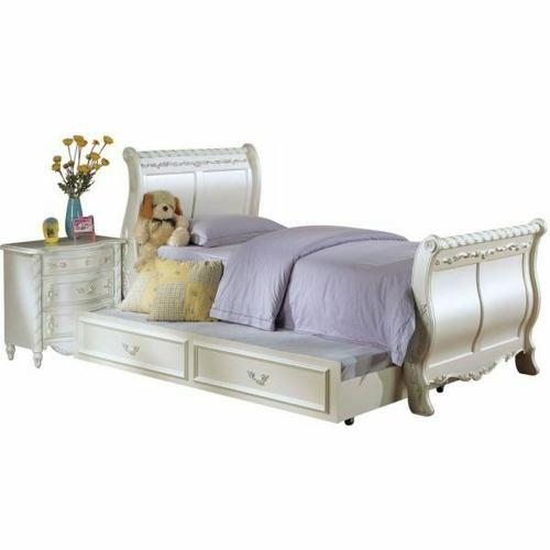 ACME Pearl Full Bed (Sleigh) - 01005F - Pearl White & Gold Brush Accent