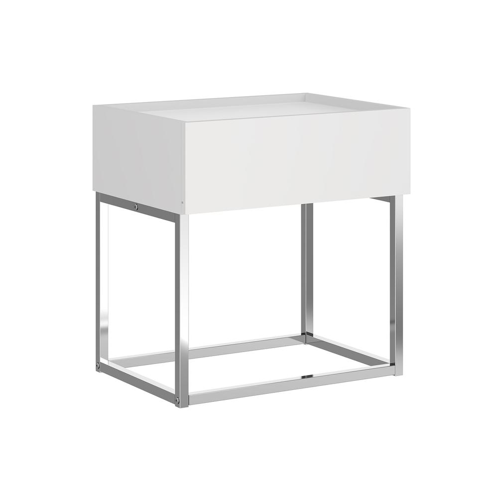 The Noa Nightstand Part Of Our Kd Collection In Matte White With Chromed Metal Frame