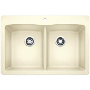 Diamond Equal Double Bowl With Ledge - Biscuit