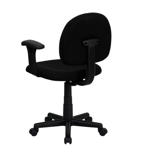Low Back Black Fabric Swivel Task Chair with Adjustable Arms