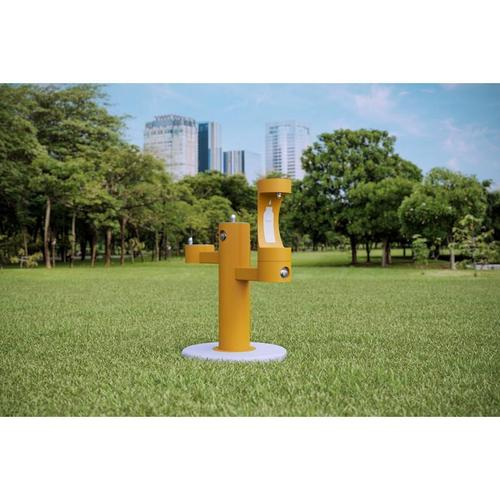 Elkay - Elkay Outdoor EZH2O Bottle Filling Station Tri-Level Pedestal, Non-Filtered Non-Refrigerated Yellow