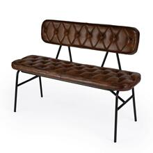 See Details - Our Butler Austin Leather Button Tufted Bench is wrapped in high quality goat leather and expertly distressed and stitched in a button-tufted pattern for a smooth and buttery feel. It's high cushioned back offers additional support. The sleek black iron frame offers maximum support for a handsome addition to any entryway, bedroom, kitchen or hallway.